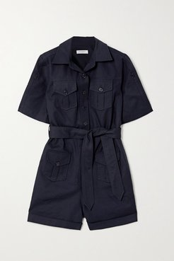 Paulena Belted Cotton-blend Twill Playsuit - Navy