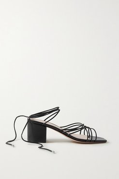 Woven Leather Sandals - Black