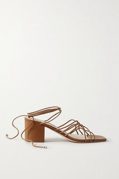 Woven Leather Sandals - Tan