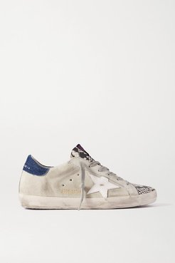 Superstar Denim-trimmed Distressed Snake-effect Leather And Suede Sneakers - Gray