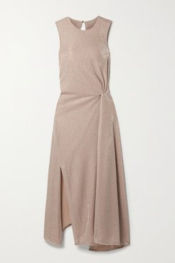 Cutout Gathered Lurex Midi Dress - Sand