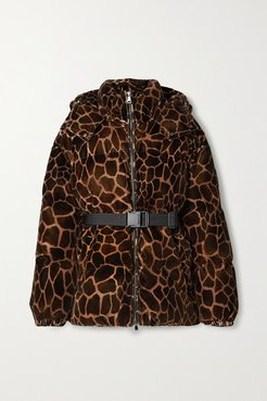 Kundogi Animal-print Quilted Cotton-velvet Down Jacket - Brown
