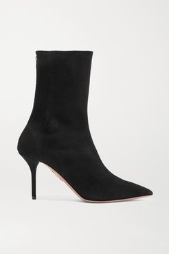 Saint Honore 85 Suede Sock Boots - Navy