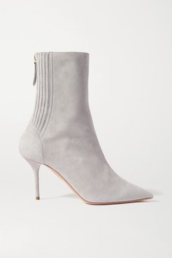 Saint Honore 85 Suede Sock Boots - Light gray