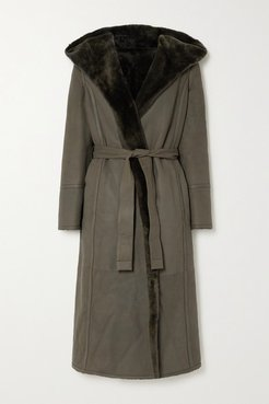 Harvey Reversible Hooded Belted Shearling Coat - Army green