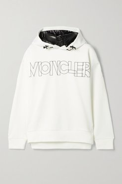 Shell-trimmed Printed Jersey Hoodie - Ivory