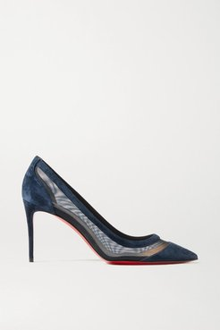Galativi 85 Suede And Mesh Pumps - Navy