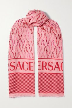 Frayed Printed Cotton And Silk-blend Twill Scarf - Pink