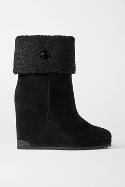 W Short Shearling-lined Suede Wedge Ankle Boots - Black