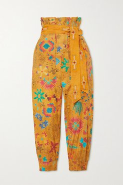 Belted Printed Cotton-voile Tapered Pants - Mustard