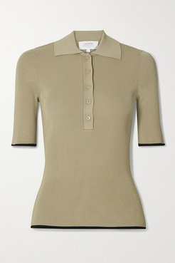 Slinky Two-tone Ribbed-knit Polo Shirt - Sand