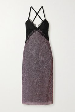 Lace-trimmed Crystal-embellished Chainmail Midi Dress - Black