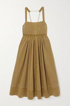 Tie-detailed Pleated Washed Cotton-canvas Midi Dress - Army green