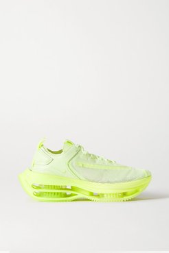 Double Stack Mesh And Leather Sneakers - Yellow