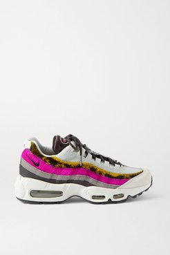 Air Max 95 Mesh, Suede, Calf Hair And Leather Sneakers - White