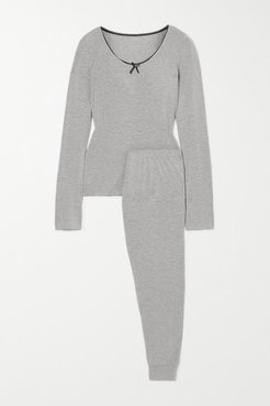 June Lace-trimmed Jersey Pajama Set - Gray
