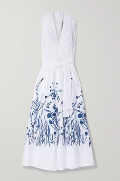Belted Embroidered Cotton-poplin Midi Dress - White