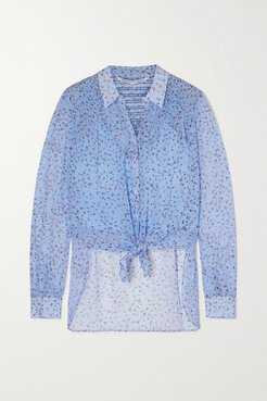 Dazed Tie-front Shirred Floral-print Silk-chiffon Blouse - Lilac