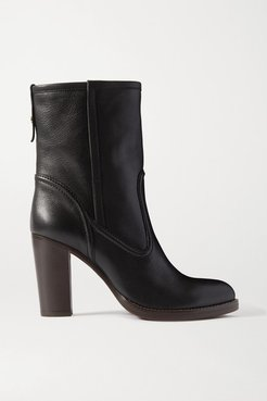 Emma Leather Ankle Boots - Black
