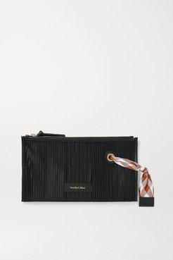 Beth Leather-trimmed Pleated Satin Cosmetics Case - Black