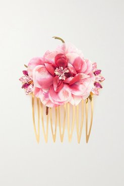 Gold-tone, Silk And Crystal Hair Slide