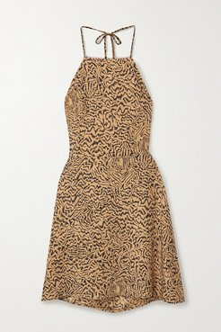 Reece Tiger-print Silk Crepe De Chine Halterneck Mini Dress - Sand