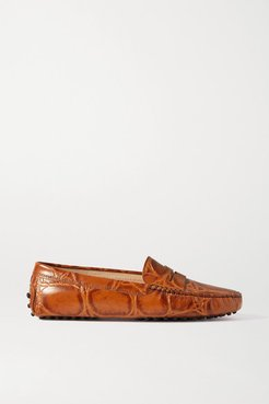 Gommino Croc-effect Leather Loafers - Tan