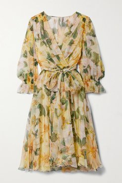 Wrap-effect Belted Floral-print Silk-chiffon Dress - Yellow