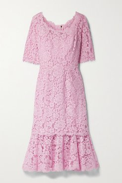 Tiered Corded Lace Midi Dress - Pink