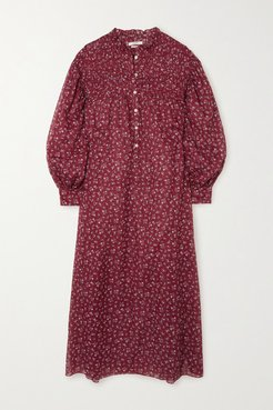 Perkins Shirred Floral-print Cotton-voile Midi Dress