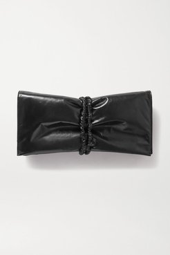 Ruched Glossed-leather Clutch - Black