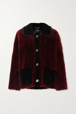 Ruffled Velvet-trimmed Quilted Shearling Coat - Red