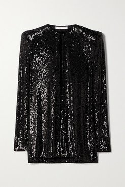 Sequined Knitted Jacket - Black