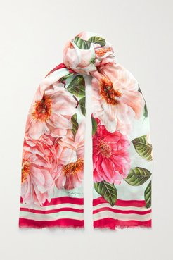 Floral-print Modal And Cashmere-blend Voile Scarf - Pink