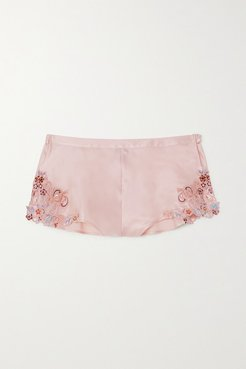 Maison Rainbow Embroidered Lace-trimmed Silk-satin Pajama Shorts - Blush