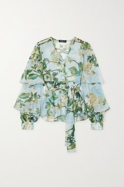 Ruffled Floral-print Crepon Blouse - Mint