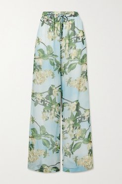 Floral-print Crepon Wide-leg Pants - Mint