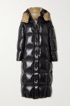 Parnaiba Hooded Quilted Glossed-shell Down Coat - Black