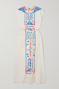 Kari Belted Embroidered Cotton Midi Dress - Ivory