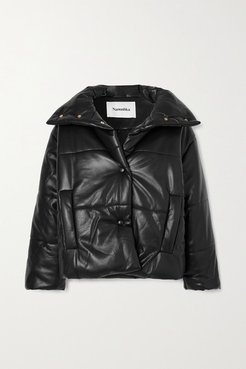 Quilted Vegan Leather Jacket - Black