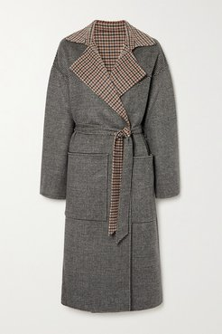 Alamo Reversible Belted Houndstooth Wool And Silk-blend Coat - Neutral