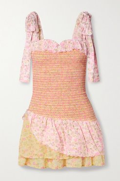 Aya Tie-detailed Tiered Shirred Floral-print Cotton-voile Mini Dress - Pink
