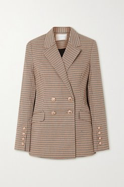 Cocoa Double-breasted Checked Woven Blazer - Tan