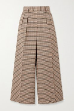 Cocoa Checked Woven Wide-leg Pants - Tan