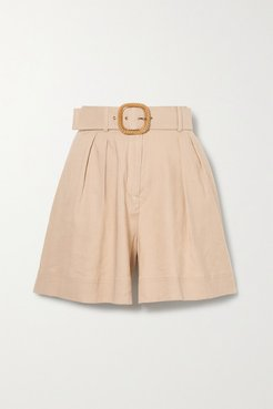Mojito Belted Linen-blend Shorts - Tan