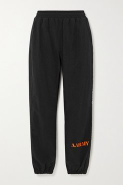 Embroidered Shell Track Pants - Black