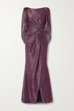 Socrates Cape-effect Draped Metallic Voile Gown - Pink