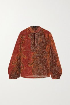Paisley-print Silk Crepe De Chine Blouse - Red