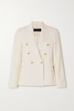Henry Double-breasted Linen And Silk-blend Blazer - Ivory