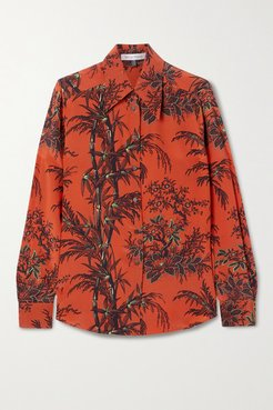 Little Prince Printed Silk Crepe De Chine Blouse - Red